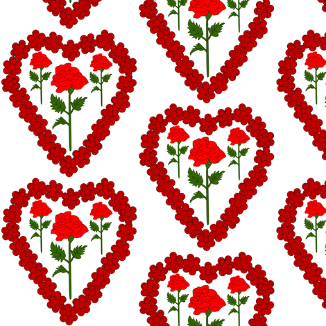 Valentines Hearts Red Roses and Hearts Fabric #3 fabric by lworiginals on Spoonflower - custom fabric