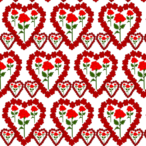 Valentines Hearts Red Roses and Hearts Fabric #2 fabric by lworiginals on Spoonflower - custom fabric