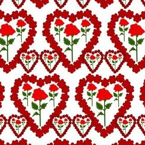 Valentines Hearts Red Roses and Hearts Fabric #2