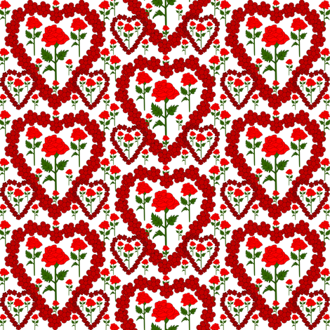 Valentines Hearts Red Roses and Hearts Fabric fabric by lworiginals on Spoonflower - custom fabric