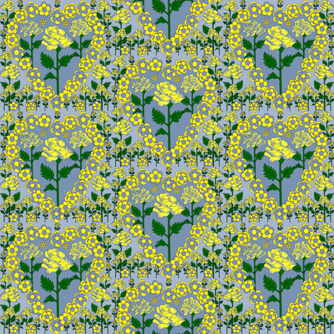Valentines Hearts Blue and Yellow Roses and Hearts Fabric fabric by lworiginals on Spoonflower - custom fabric
