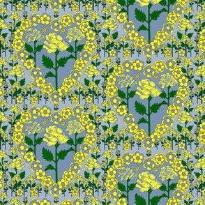 Valentines Hearts Blue and Yellow Roses and Hearts Fabric