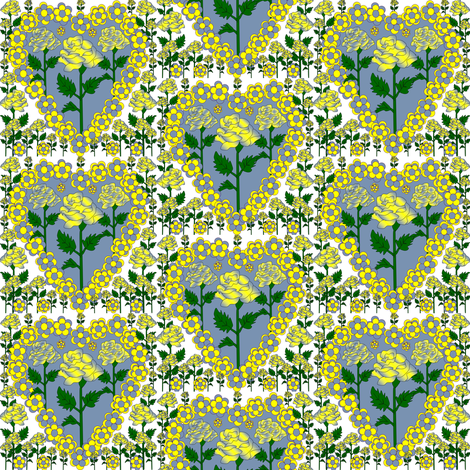 Valentines Hearts Blue and Yellow Roses and Hearts Fabric #3 fabric by lworiginals on Spoonflower - custom fabric