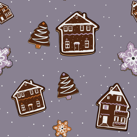 Winter Alpine Gingerbread Cookie Pattern fabric by omkate on Spoonflower - custom fabric
