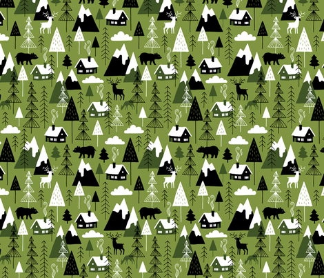 Winter alps adventure chalet (olive) fabric by heleen_vd_thillart on Spoonflower - custom fabric
