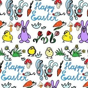 Funny easter pattern with bunnies, chickens, mushrooms, mouses, egg and carrots
