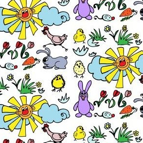 Cute  pattern with bunny and carrots, chickens and flowers, sunny weather and good humor  for kids