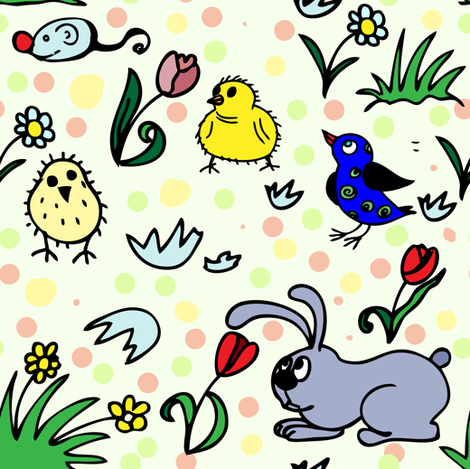 Easter chicken and bunny with polka dots fabric by magic_pencil on Spoonflower - custom fabric