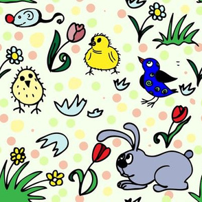 Easter chicken and bunny with polka dots