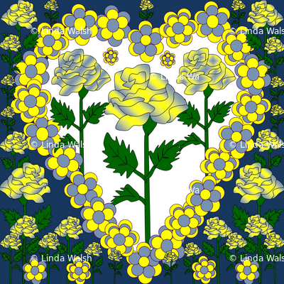 Valentines Hearts Blue, Yellow, and White Roses and Hearts Fabric #2