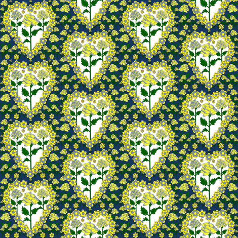 Valentines Hearts Blue, Yellow, and White Roses and Hearts Fabric #2 fabric by lworiginals on Spoonflower - custom fabric