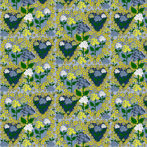 Valentines Hearts Blue, Yellow, and White Roses and Hearts Fabric fabric by lworiginals on Spoonflower - custom fabric
