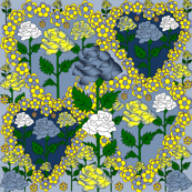 Valentines Hearts Blue, Yellow, and White Roses and Hearts Fabric