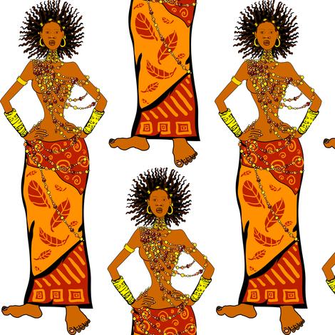 Beautiful African woman fabric by magic_pencil on Spoonflower - custom fabric