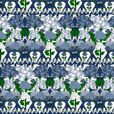 Valentines Blue and White Roses and Hearts Fabric fabric by lworiginals on Spoonflower - custom fabric