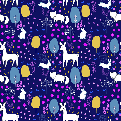 woodland_pattern_COLOUR_1 fabric by emilyhamiltonillustration on Spoonflower - custom fabric