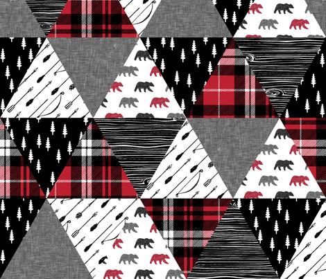 the happy camper triangle wholecloth (bear) fabric by littlearrowdesign on Spoonflower - custom fabric