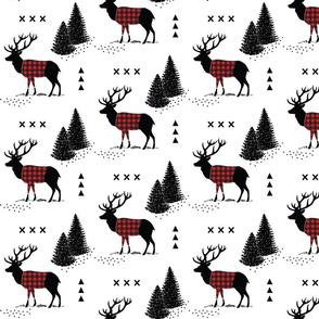 Deer - Plaid and pines