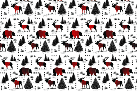 Bear, deer and moose - buffalo plaid and forest fabric by howjoyful on Spoonflower - custom fabric