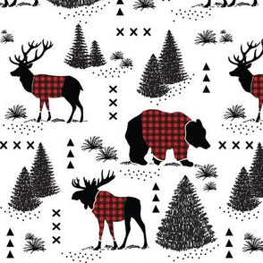 Bear, deer and moose - buffalo plaid and forest