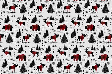 Bear, deer and moose - buffalo plaid and forest - grey background fabric by howjoyful on Spoonflower - custom fabric