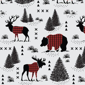 Bear, deer and moose - buffalo plaid and forest - grey background