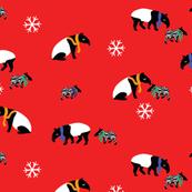 Red Winter Tapirs // by Annie Swift