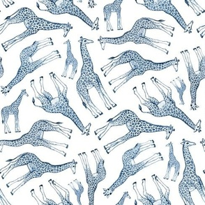 Little Ditsy Navy Blue Giraffes on White