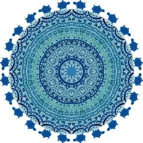 Mandala indigo with turtles big scale