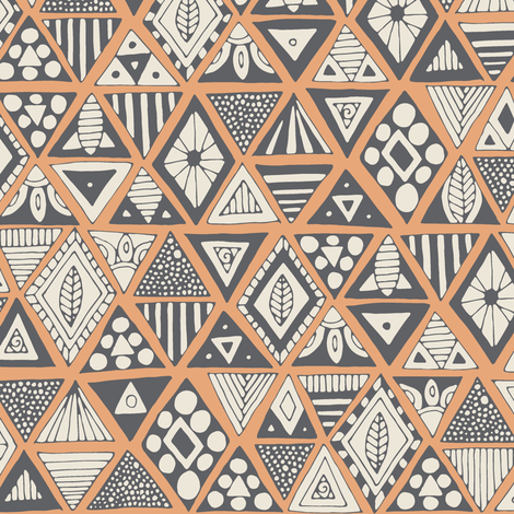 sun bear geo peach silver fabric by scrummy on Spoonflower - custom fabric