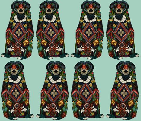 sun bear mint fabric by scrummy on Spoonflower - custom fabric