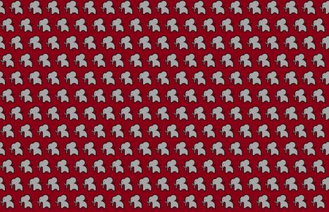 Grey elephant on crimson - smaller print fabric by fashionedbyrose on Spoonflower - custom fabric