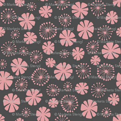pale pink flowers on gray - large scale