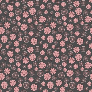 pale pink flowers on gray - ditsy
