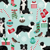 border collie fabric christmas cute xmas holiday designs red and green fabrics
