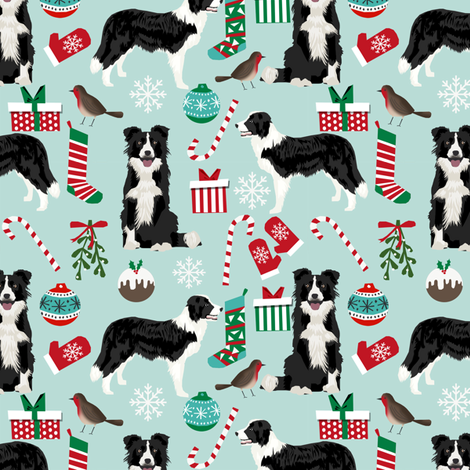 border collie fabric christmas cute xmas holiday designs red and green fabrics fabric by petfriendly on Spoonflower - custom fabric