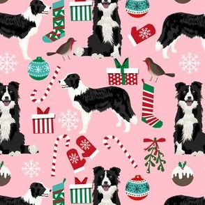 border collie christmas design cute dogs christmas pink xmas holiday dogs fabric
