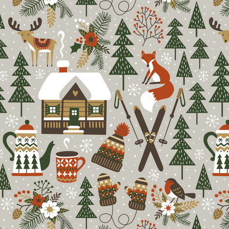 cozy chalet - small, warm light gray fabric by mirabelleprint on Spoonflower - custom fabric