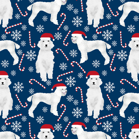 poodle peppermint sticks candy canes cute poodles dogs fabric cute snowflakes poodles fabric cute dogs fabric fabric by petfriendly on Spoonflower - custom fabric