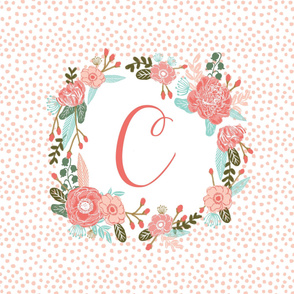 c monogram personalized flowers florals painted flowers girls sweet baby nursery