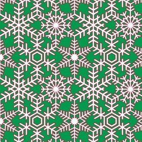 Snowflakes Web Green Red White