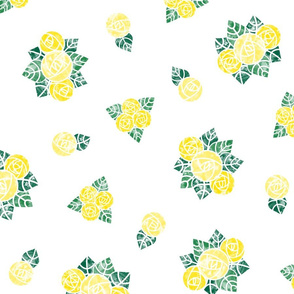 Craftsmen Round Roses White Yellow