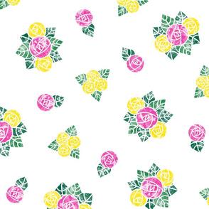Craftsmen Round Roses White Yellow Pink