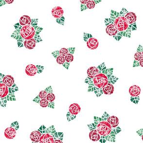 Craftsmen Round Roses White Red