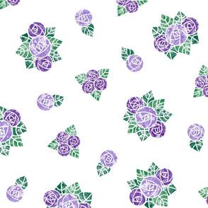 Craftsmen Round Roses White Purple