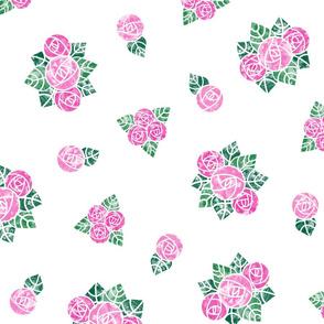 Craftsmen Round Roses White Pink