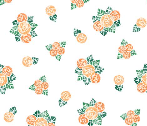Craftsmen Round Roses White Orange fabric by wickedrefined on Spoonflower - custom fabric