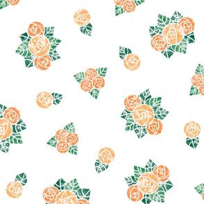 Craftsmen Round Roses White Orange
