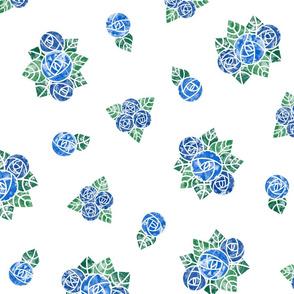 Craftsmen Round Roses White Blue