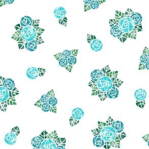 Craftsmen Round Roses White Aqua